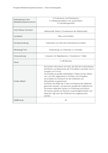 Unterrichtsbeispiel Fundamente der Mathematik Klasse 5 in Nordrhein Westfalen - Produzieren und Präsentieren - Unterrichtsbeispiel Medienkompetenzrahmen