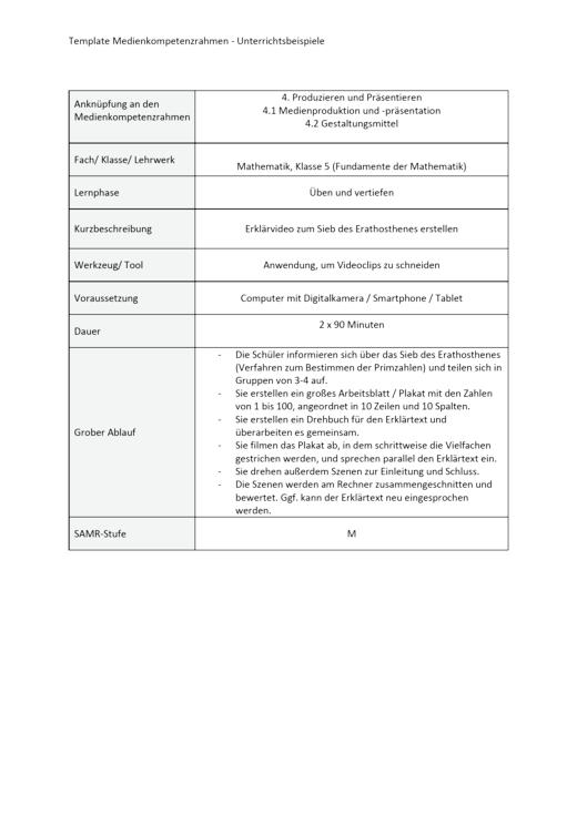 Unterrichtsbeispiel Fundamente der Mathematik Klasse 5 in Nordrhein Westfalen - Produzieren und Präsentieren - Unterrichtsbeispiel Medienkompetenzrahmen - Webshop-Download