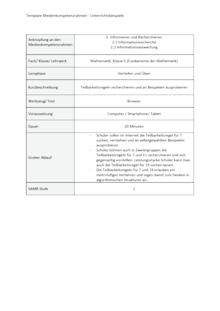 Unterrichtsbeispiel Fundamente der Mathematik Klasse 5 in Nordrhein Westfalen - Informieren und Recherchieren - Unterrichtsbeispiel Medienkompetenzrahmen