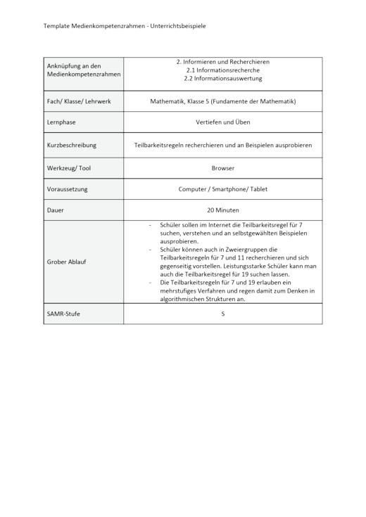 Unterrichtsbeispiel Fundamente der Mathematik Klasse 5 in Nordrhein Westfalen - Informieren und Recherchieren - Unterrichtsbeispiel Medienkompetenzrahmen - Webshop-Download