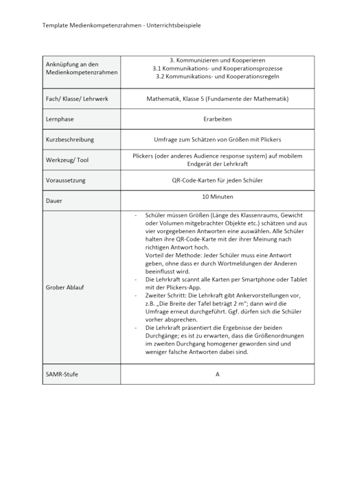 Unterrichtsbeispiel Fundamente der Mathematik Klasse 5 in Nordrhein Westfalen - Kommunizieren und Kooperieren - Unterrichtsbeispiel Medienkompetenzrahmen - Webshop-Download