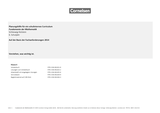Fundamente der Mathematik - Schulcurriculum Fundamente der Mathematik - Schleswig Holstein G9 Klasse 6 - Synopse - 6. Schuljahr