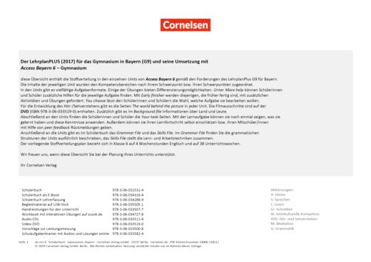 Access - Stoffverteilungsplan Access Bayern 6 Gymnasium - Stoffverteilungsplan - Webshop-Download