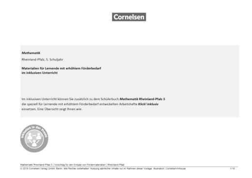 Schlüssel zur Mathematik - Materialeinsatz für einen inklusiven Unterricht Klasse 5 in Rheinland-Pfalz - Synopse - 5. Schuljahr