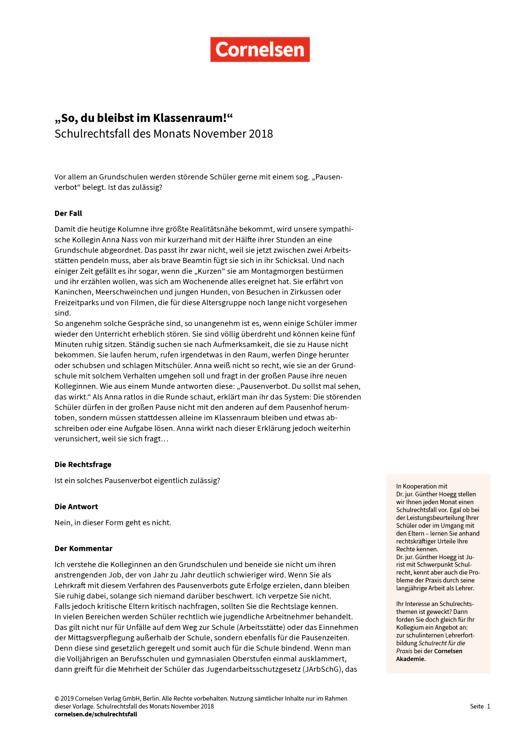 """""""So, du bleibst im Klassenraum!"""" - Schulrechtsfall des Monats November 2018 - Schulrechtsfall - Webshop-Download"""