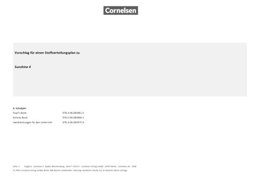 Sunshine - Sunshine 4 - Stoffverteilungsplan zum Bildungsplan Baden-Württemberg - Stoffverteilungsplan - Webshop-Download