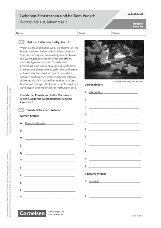 Zwischen Zimtsternen und heißem Punsch - Wortspiele zur Adventszeit - Arbeitsblatt mit Lösungen
