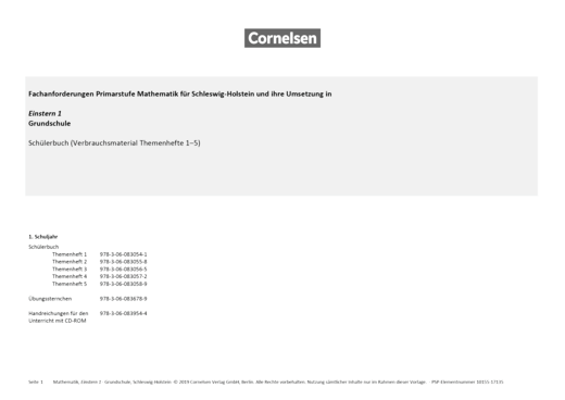 Einstern - Einstern 1 – Synopse Schleswig-Holstein - Synopse - Band 1