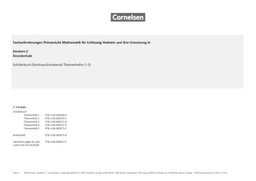 Einstern - Einstern 2 Verbrauchsmaterial – Synopse Schleswig-Holstein - Synopse - Band 2