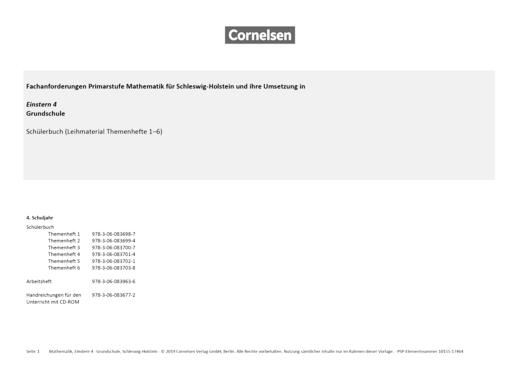 Einstern - Einstern 4 Ausleihmaterial – Synopse Schleswig-Holstein - Synopse - Band 4