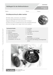 Wollkugeln für den Weihnachtsbaum - Arbeitsblatt mit Lösungen