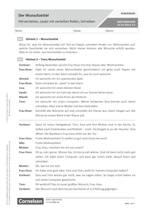 DaZ/Deutsch: Der Wunschzettel - Hörverstehen, Lesen mit verteilten Rollen, Schreiben - Arbeitsblatt mit Lösungen
