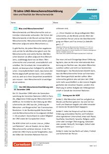 70 Jahre UN-Menschenrechtserklärung. Idee und Realität der Menschenwürde - Arbeitsblatt mit Lösungen