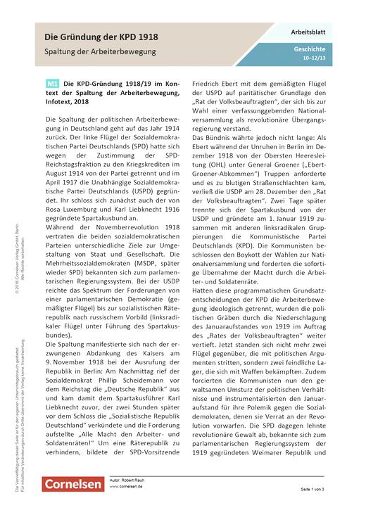 Gründung der KPD 1918/19 im Kontext der Spaltung der Arbeiterbewegung - Arbeitsblatt mit Lösungen - Webshop-Download