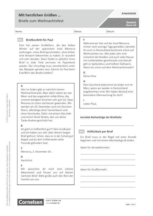 Mit Herzlichen Grüßen Briefe Zum Weihnachtsfest Arbeitsblatt Mit Lösungen Webshop Download
