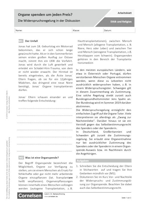 Organe spenden um jeden Preis? – Die Widerspruchsregelung in der Diskussion - Arbeitsblatt mit Lösungen