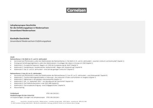 Kurshefte Geschichte - Synopse zu Kurshefte Geschichte Sekundarstufe II - Niedersachsen - Synopse - Webshop-Download