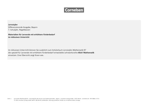 Lernstufen Mathematik - Klick!Inklusiv Synopse Lernstufen Bayern 7R - Synopse - 7. Jahrgangsstufe