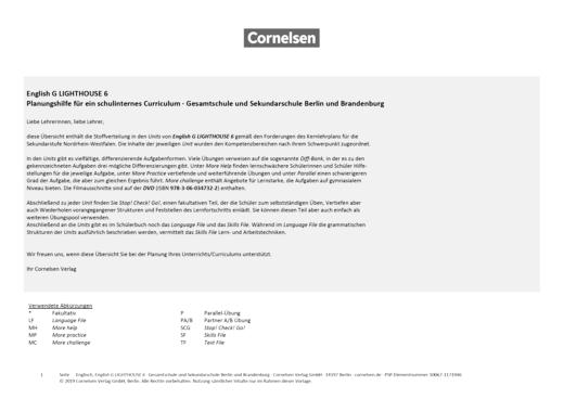English G Lighthouse - Planungshilfe für ein schulinternes Curriculum Berlin und Brandenburg - Band 6: 10. Schuljahr