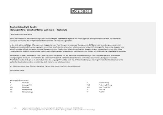 English G Headlight - Headlight 6 - Planungshilfe für ein schulinternes Curriculum - Synopse - Band 6: 10. Schuljahr