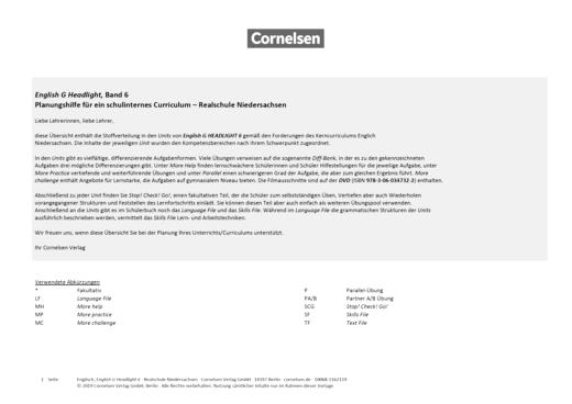 English G Headlight - Headlight 6 - Planungshilfe für ein schulinternes Curriculum Realschule Niedersachsen - Stoffverteilungsplan - Band 6: 10. Schuljahr