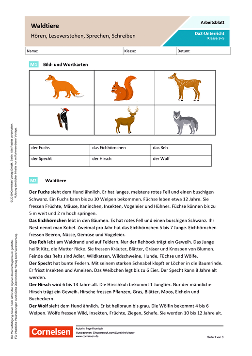 DaZ/Deutsch: Waldtiere – Hören, Leseverstehen, Sprechen, Schreiben - Arbeitsblatt mit Lösungen
