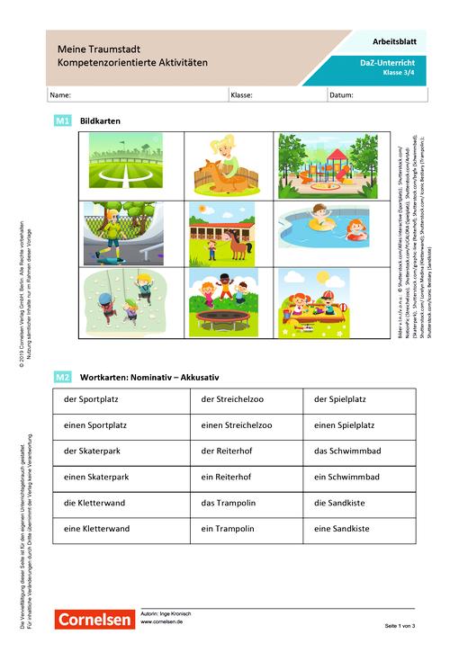DaZ/Deutsch: Meine Traumstadt - Kompetenzorientierte Aktivitäten - Arbeitsblatt mit Lösungen - Webshop-Download