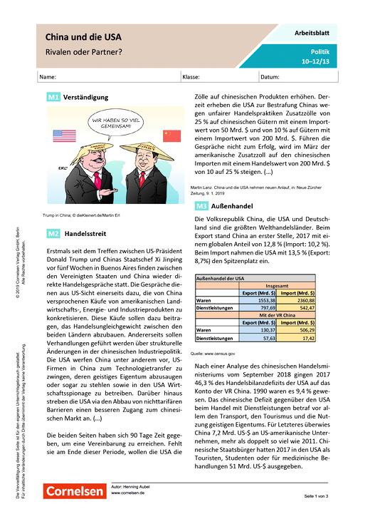 China und die USA - Rivalen oder Partner? - Arbeitsblatt mit Lösungen - Webshop-Download