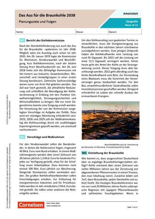 Das Aus für die Braunkohle 2038 - Planungsziele und Folgen - Arbeitsblatt mit Lösungen - Webshop-Download