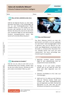 Autos als moralische Akteure - Ethische Probleme künstlicher Intelligenz - Arbeitsblatt mit Lösungen