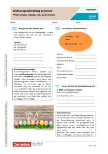 Kleines Sprachtraining zu Ostern: Wortschatz, Wortarten, Zeitformen - Arbeitsblatt mit Lösungen