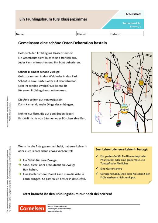 Ein Frühlingsbaum fürs Klassenzimmer - Arbeitsblatt mit Lösungen