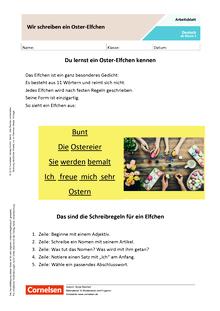 Wir schreiben ein Oster-Elfchen - Arbeitsblatt mit Lösungen