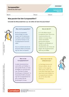 Europawahlen - Kennst du dich aus? - Arbeitsblatt mit Lösungen