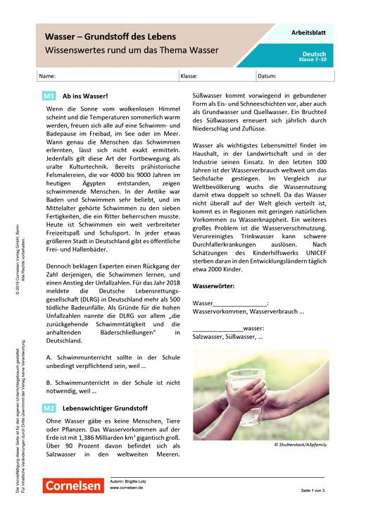 Wasser – Grundstoff des Lebens: Wissenswertes rund um das Thema Wasser - Arbeitsblatt mit Lösungen