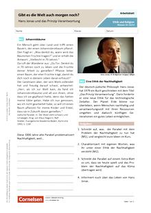 Gibt es die Welt auch morgen noch? - Hans Jonas und das Prinzip Verantwortung - Arbeitsblatt mit Lösungen