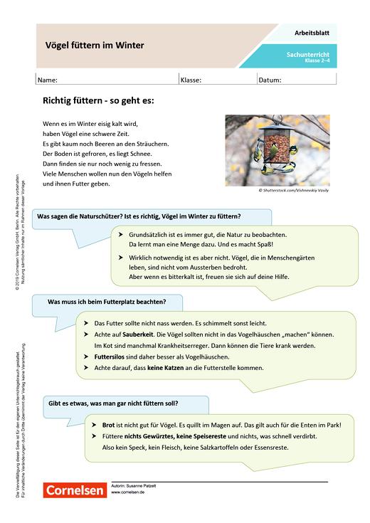 Vögel füttern im Winter - Arbeitsblatt mit Lösungen