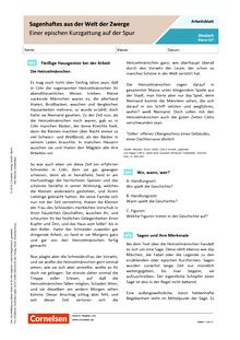 Sagenhaftes aus der Welt der Zwerge: Einer epischen Kurzgattung auf der Spur - Arbeitsblatt mit Lösungen