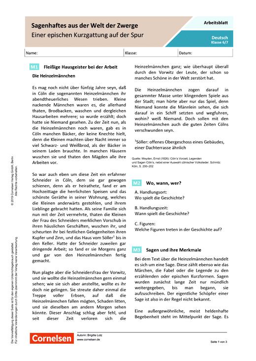 Sagenhaftes aus der Welt der Zwerge: Einer epischen Kurzgattung auf der Spur - Arbeitsblatt mit Lösungen - Webshop-Download