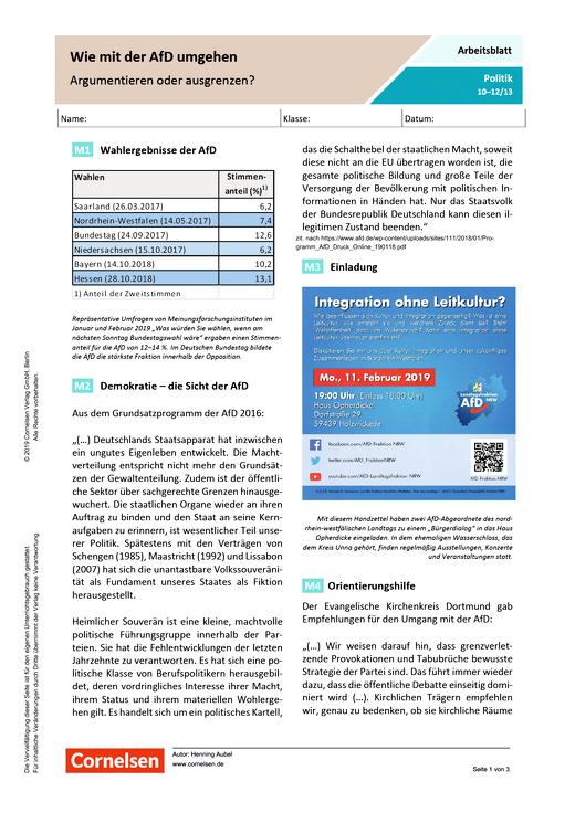 Wie mit der AfD umgehen: Argumentieren oder ausgrenzen? - Arbeitsblatt mit Lösungen - Webshop-Download