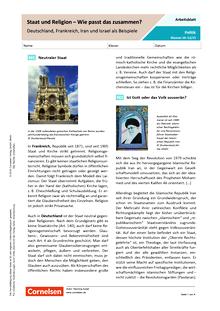 Staat und Religion - Wie passt das zusammen? Deutschland, Frankreich, Iran und Israel als Beispiele - Arbeitsblatt mit Lösungen