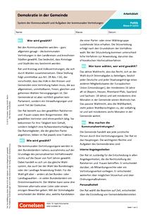 Demokratie in der Gemeinde: System der Kommunalwahl und Aufgaben der kommunalen Vertretungen - Arbeitsblatt mit Lösungen