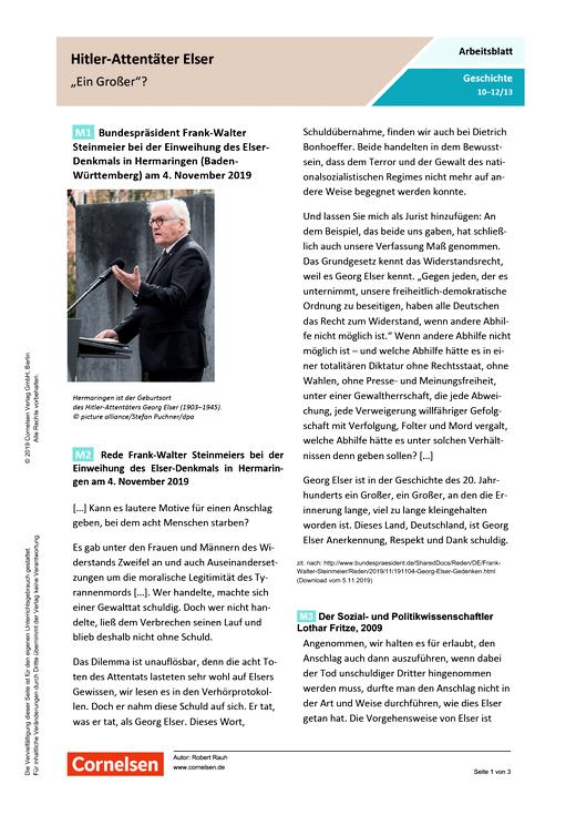 """Hitler-Attentäter Elser - """"ein Großer""""? - Arbeitsblatt mit Lösungen"""