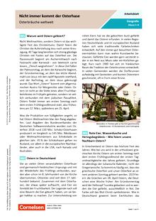 Nicht immer kommt der Osterhase - Osterbräuche weltweit - Arbeitsblatt mit Lösungen