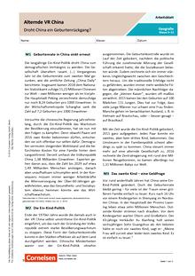 Alternde Volksrepublik China: Droht China ein Geburtenrückgang? - Arbeitsblatt mit Lösungen
