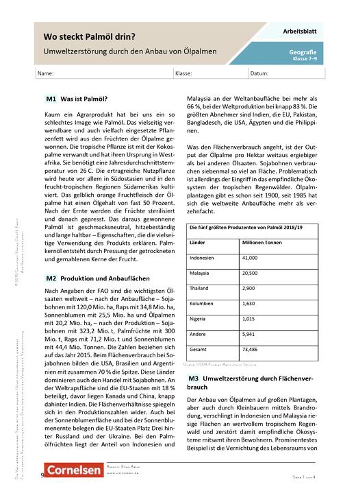 Wo steckt Palmöl drin? - Umweltzerstörung durch den Anbau von Ölpalmen - Arbeitsblatt mit Lösungen - Webshop-Download