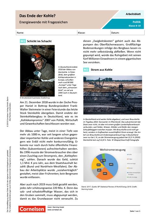 Das Ende der Kohle? - Energiewende mit Fragezeichen - Arbeitsblatt mit Lösungen
