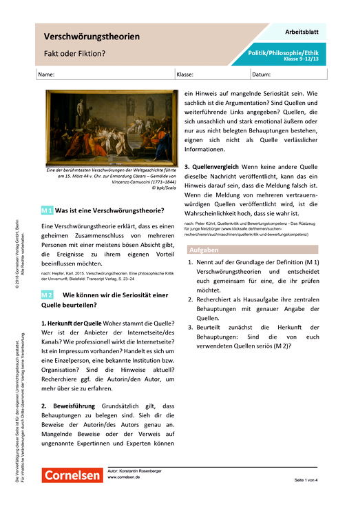 Verschwörungstheorien - Fakt oder Fiktion? - Arbeitsblatt mit Lösungen
