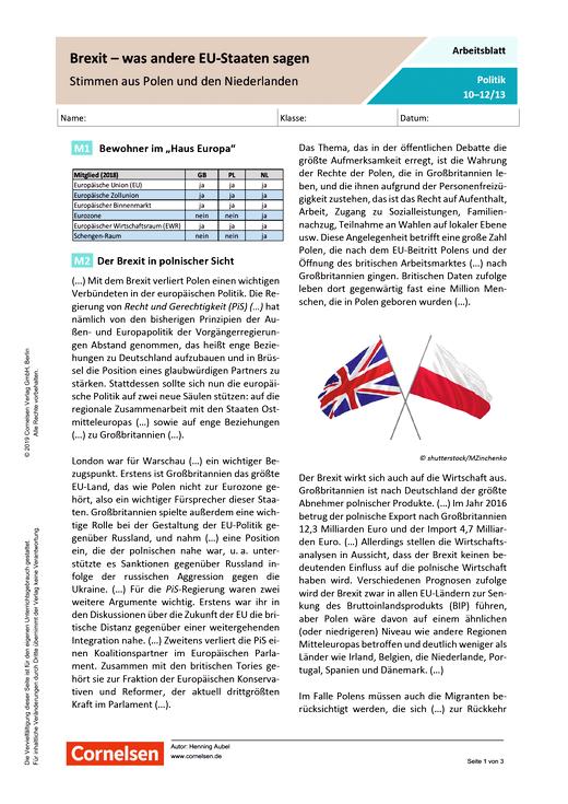 Brexit - was andere EU-Staaten sagen. Stimmen aus Polen und den Niederlanden - Arbeitsblatt mit Lösungen - Webshop-Download