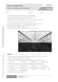 Rosen zum Valentinstag - Division mit Vielfachen von Stufenzahlen - Arbeitsblatt mit Lösungen